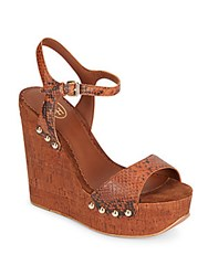 Ash Biba Snake Embossed Leather And Cork Platform Wedge Sandals Rusty