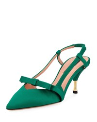 Rochas Satin Slingback Bow Pumps Green