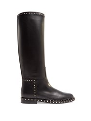 Valentino Soul Rockstud Leather Knee High Boots Black