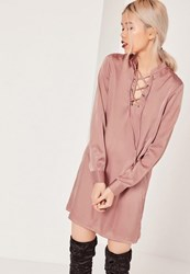 Missguided Pink Lace Up Front Shift Dress Nude