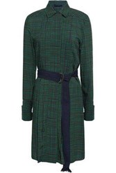 Piazza Sempione Woman Belted Gingham Crepe Dress Green