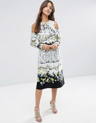 Asos Ruffle Front Cold Shoulder Dress In Placement Floral Multi Grey