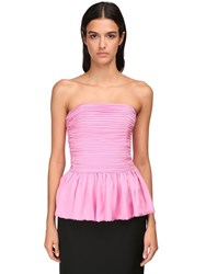 Alexandre Vauthier Ruched Strapless Chiffon Satin Top Pink