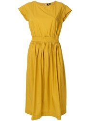 Woolrich Belted Flared Midi Dress Yellow And Orange
