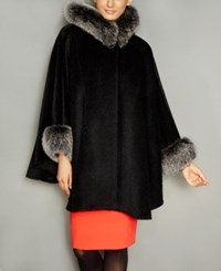 The Fur Vault Fox Trim Wool Alpaca Blend Hooded Cape Black Snowtop