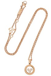 Chopard Happy Diamonds 18 Karat Rose Gold Diamond Necklace One Size