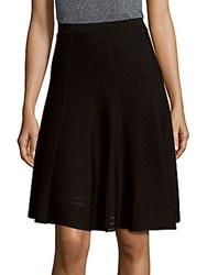 Saks Fifth Avenue Black Solid A Line Skirt Black