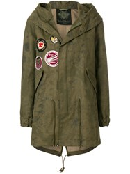 Mr And Mrs Italy Patch Detail Parka Cotton Linen Flax Polyurethane Green