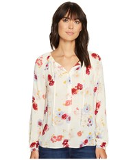 Lucky Brand Major Floral Peasant Top Natural Multi Women's Long Sleeve Button Up