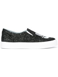 Chiara Ferragni Glittery Slip On Sneakers Black