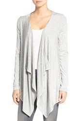 Amour Vert Women's 'Pearl' Drape Cardigan Heather Grey