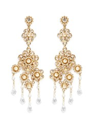Miriam Haskell Crystal Baroque Pearl Filigree Floral Drop Earrings Metallic
