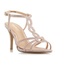 Head Over Heels Mamboo Twist T Bar Sandals Rose Gold