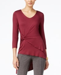 Cable And Gauge Faux Wrap Asymmetrical Hem Top Burgundy