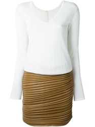 Jay Ahr Leather Combi Dress White