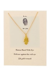 B.U. Jewelry 22K Gold Plated Sterling Silver Hamsa Charm Necklace Metallic