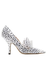 Midnight Polka Dot Tulle And Pvc Pumps White Black