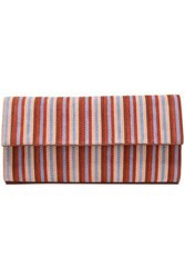 Diane Von Furstenberg Woman Metallic Striped Leather Clutch Brick