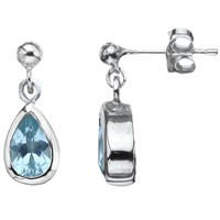 Nina B Sterling Silver Teardrop Drop Earrings Silver Blue Topaz