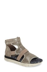 Otbt Women's Astro Perforated Gladiator Sandal Grey Silver Leather