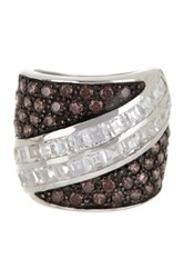 Savvy Cie Sterling Silver Garnet And Cz Stripe Cocktail Ring Metallic