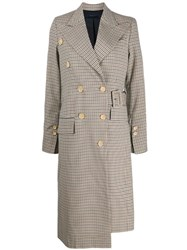 Eudon Choi Checked Pattern Coat Neutrals