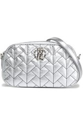 Roberto Cavalli Quilted Metallic Leather Shoulder Bag Silver
