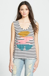 Living Doll 'Striped Sunset' Graphic Tank Juniors Ivory Black Stripe