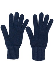 Pringle Of Scotland Gloves With Ribbed Details Blue