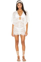 Nookie Mondrian Lace Romper Cover Up White