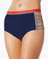 Tommy Hilfiger Strappy High Waist Bikini Bottoms Women's Swimsuit Navy