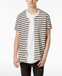 Jaywalker Men's Oversized Stripe French Terry Baseball Shirt White