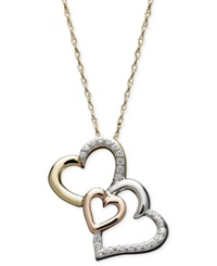 Treasured Hearts Triple Heart Diamond Pendant Necklace In 14K Gold 14K Rose Gold And Sterling Silver 1 6 Ct. T.W.