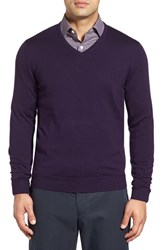 John W. Nordstromr Men's Big And Tall Nordstrom Merino Wool V Neck Sweater Purple Night