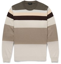 Paul Smith Striped Cashmere Sweater Brown