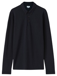 Jigsaw Pique Long Sleeve Polo Shirt Indigo