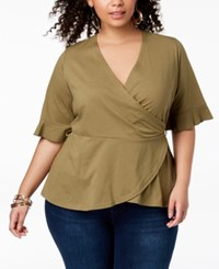 Say What Trendy Plus Size Wrap Top Olive