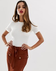 Lipsy Knitted Tee In White White
