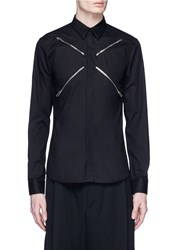 Givenchy Cross Zip Cotton Twill Shirt Black