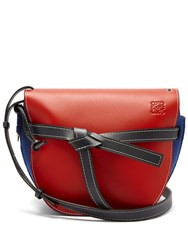 Loewe Gate Grained Leather And Felt Cross Body Bag Red Multi