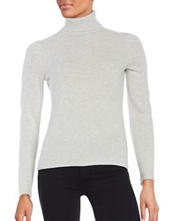 Lord And Taylor Cashmere Turtleneck Sweater Light Grey Heather