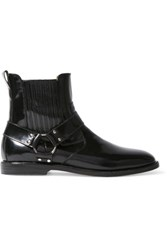 Dieppa Restrepo Ace Glossed Leather Ankle Boots Black