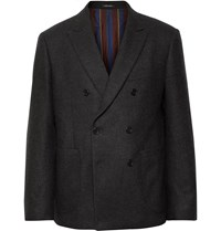 Noah Dark Grey Double Breasted Checked Wool And Cashmere Blend Blazer Gray