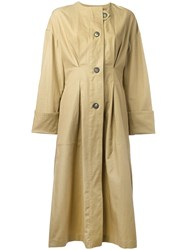 Isabel Marant Slater Trench Coat Women Cotton Linen Flax 38 Nude Neutrals