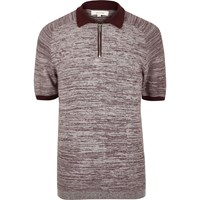 River Island Mens Dark Red Textured Zip Up Polo Shirt
