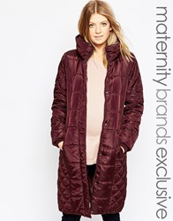 Mama Licious Mamalicious Long Padded Belted Coat Purple