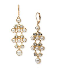 Anne Klein 8Mm White Faux Pearl And Cubic Zirconia Tiered Drop Earrings Rose Gold