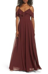 Jenny Yoo Women's Cold Shoulder Chiffon Gown Hibiscus
