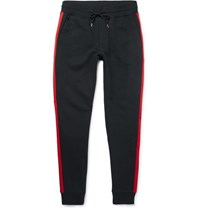 Moncler Slim Fit Tapered Grosgrain Trimmed Loopback Cotton Jersey Sweatpants Navy