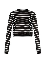 Tibi Striped Crew Neck Cropped Sweater